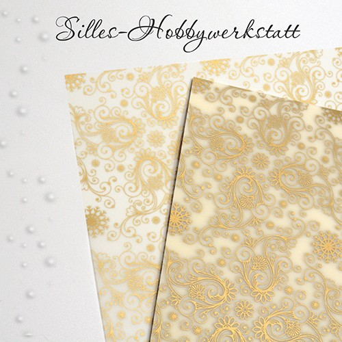20x20 cm Bastelpapier Transparent mit Gold
