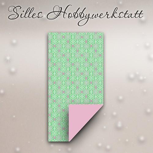 15 x 7,5 cm Faltpapier Blumig Mint 2:1