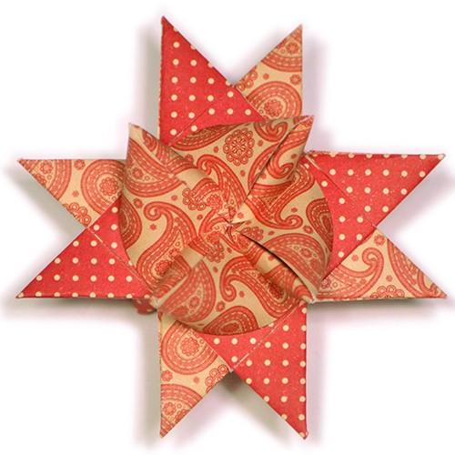 15 mm Fröbelstern Faltstreifen Paisley Rot