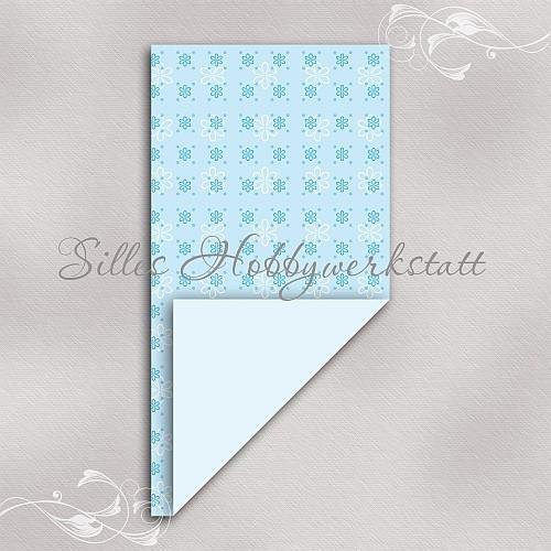 15 x 7,5 cm Faltpapier Blumig Himmelblau