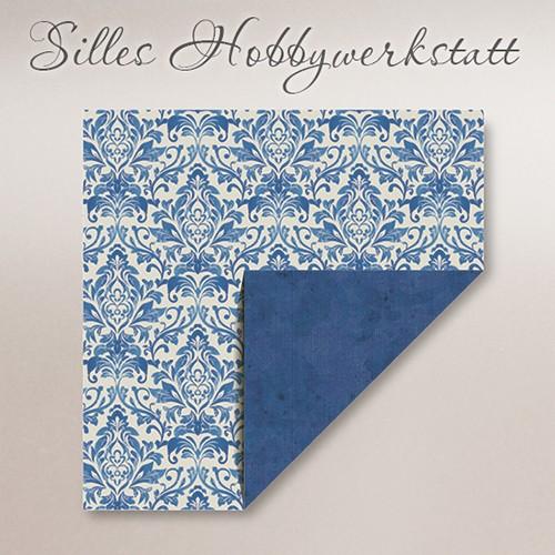 20x20 cm Faltpapier Dama Blau