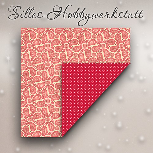 15x15 cm Origami Papier Paisley Rot