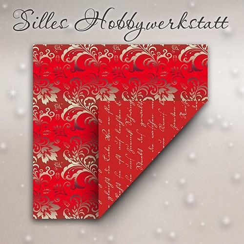 15x15 cm Faltpapier Baro Lyrik Rot